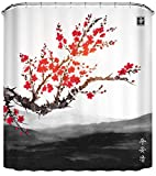LB Japanese Shower Curtain Spring Cherry Blossom Flower Asian Anime Oriental Chinese Ink Painting Bathroom Curtains Set Durable Waterproof Fabric with Hooks,70x70 Inch