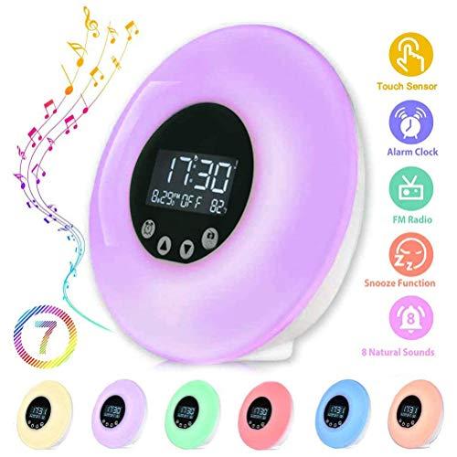 Luz de despertador, Careslong luz de cabecera de alarma de alarma 7 con simulación de amanecer/atardecer, control táctil de luz nocturna con 9 colores y 18 brillo, radio FM/control remoto