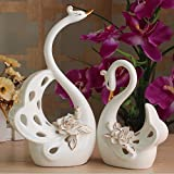 ZPSPZ Home Furnishing Ceramic Ornaments Crafts European Couples Swan Tv Cabinet Furnishings