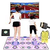 Tanzmatte für TV mit HDMI-Schnittstelle, rutschfest, kabellos, doppeltes Tanzpad mit englischer Anleitung, Tanzmusikspiel für Kinder Jungen Mädchen 6–13 Jahre alt
