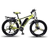 Hyuhome Vélos électriques pour Adultes, en Alliage de magnésium eBikes Vélos Tout Terrain, 26' 36V 350W 13Ah Amovible au Lithium-ION pour Hommes Montagne Ebike,Jaune,13Ah80Km