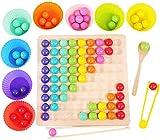 XIAMUSUMMER Wooden Go Games Set Dots Shuttle Beads Juegos de Mesa de Juguete para Niños - Rainbow Clip Beads Puzzle of Wooden Clip Beads Rainbow Toy - Early Education Puzzle Juego de Mesa
