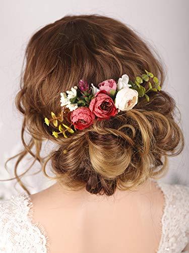 Kercisbeauty handgefertigter Boho Haarkamm für Braut, künstliche Blumen, Blumen, Haaraccessoires, Garten, Hochzeit, Abschlussball, Party, Kopfstück für Damen, Teenager, Mädchen