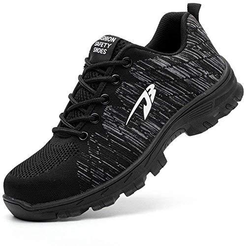 [ブルーポメロ] 安全靴 あんぜん靴 作業靴 スニーカー メンズ レディース 鋼先芯 KEVLARミッドソール 鋼製ミッドソール 軽量 通気 耐摩耗 衝撃吸収 男女兼用 タイプB-ダークブラック 26