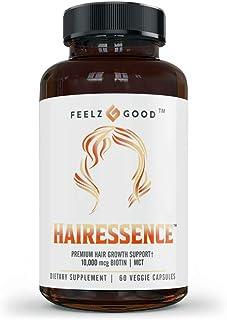Hairessence™ | Premier Hair Growth Vitamin Formula | Biotin 10,000 mcg | MCT Oil | Hair Growth Vitamins for Women - D3, B5...