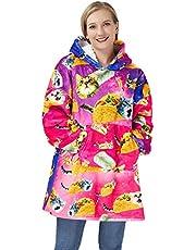 Freshhoodies Hoodie Deken Ultra Soft Sherpa Fleece Warm Cosy Oversized Hooded Sweatshirt met grote zak, One Size Fits All - Vrouwen Tieners Kids