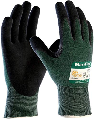 3 Pack MaxiFlex Cut 34-8743 Cut Resistant Nitrile Coated Work Gloves with Green Knit Shell and Premium Nitrile Coated Micro-Foam Grip on Palm & Fingers. Size: Small