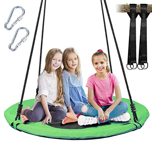Tree Swing, Outdoor Swing with Hanging Strap Kit, 40 Inch Diameter 600lb Weight Capacity, Great for Playground Swing, Backyard and Playroom
