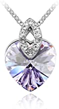 Gift for Girls White Gold Plated Love Heart Shaped Pendant with Amethyst Purple Swarovski Elements Crystal Necklace
