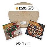 PUR Schamotte Pizzastein rund 31 cm x 25 mm Für Gasgrill, Für Grill, Brotbackstein Für Backofen Schamott