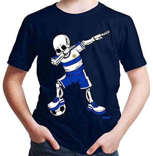 Hariz – Camiseta de fútbol, Dab Skelett Uruguay, equipación de equipación con tarjetas de regalo Azul marino 8 años