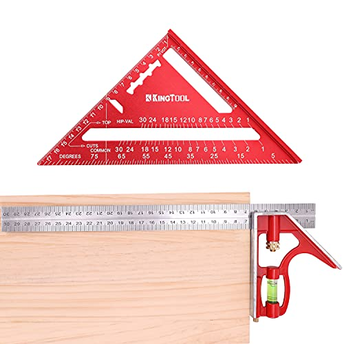 KingTool Rafter Square Layout Tool, 7 Inch Rafter Square and 12 Inch Combination Square Tool Set, Aluminum Alloy Die-casting Carpenter Square and Zinc-alloy Die-casting Square Ruler Combo