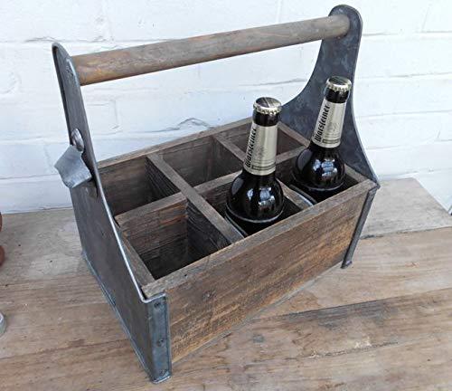 Deko-Impression Holzkasten Bierkasten Weinregal Flaschenständer m. Öffner Holz 6er