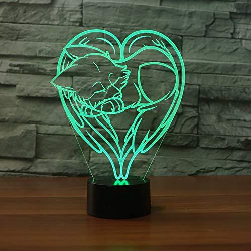 Cartoon vos geposeerd illusie-nachtlampje 3D LED tafel bureaulampen, 7 kleuren USB opladen bedlampje slaapkamer decoratie voor kinderen Kerstmis verjaardagscadeau