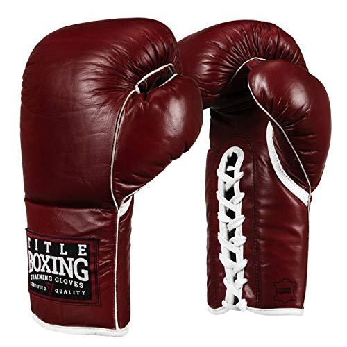 Title Old School Leather Bag Gloves, Maroon, 14 oz