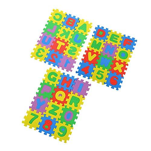 Pudincoco 36pcs Coloré Puzzle Enfant Jouet Éducatif Alphabet AZ Lettres Chiffre Mousse de Jeu en Mousse Auto-Assembler Bébé Ramper Pad (Multicolore)