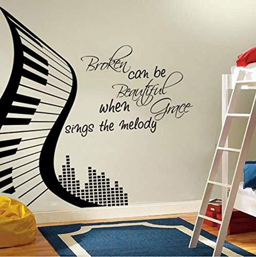 Wandaufkleber Modern Piano Broken kann schön sein, wenn singt die Melodie Wandaufkleber Musik Klavier Motivations Wandtattoo Vinyl 56 * 56 cm