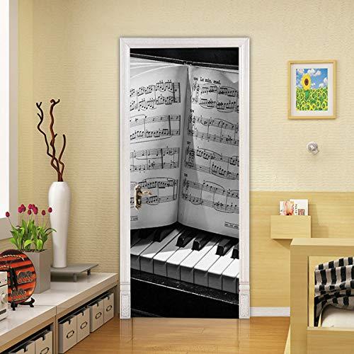 koigjh Kreative 3D Piano Note Türaufkleber DIY Wandbild Selbstklebende Tapete Abnehmbare wasserdichte Poster Aufkleber Home Decor Decals