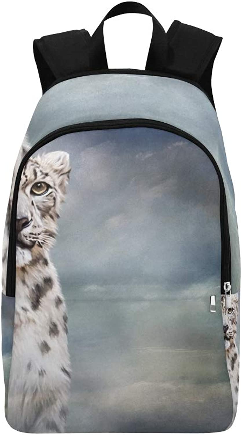 Drawing Snow Leopard Portrait Oil Painting Casual Daypack Travel Bag College School Backpack for Mens and Women