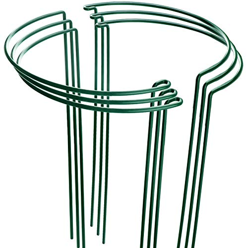 HiGift 6 Pack Plant Support Stakes, Metal Garden Plant Stake, Outdoor Tall Plant Support Ring Cage,Large Plant Supports for Peony, Tomato,Vegetable, Hydrangea,Rose,Flowers Vine (10' Wide x 15.8' High)