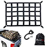 SurmountWay Cargo Net Capacity 1100LBS Truck Bed Cargo Net 3.5'x 4.1' Rugged Truck Bed Cargo Net ,Heavy Duty Cargo Nets for Pickup Trucks with Cam Buckles & S-Hooks(42' x 50' )