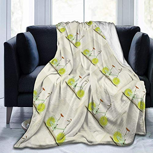 N/A Flannel Blankets,Cozy Wrap,Shaggy Blanket Throw,Microfleece Blanket,Orange Bicycle Vitamins Acid Light Weight Throw Blankets Bed Blanket Couch Blanket Sofa Cover For Outdoor/Indoor L