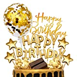MOVINPE Gold Cake Topper Decoration with Golden Happy Birthday Candles Happy Birthday Banner...