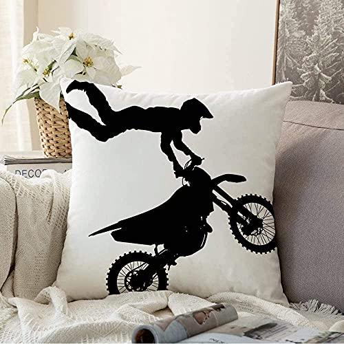 Kissenbezug, dekorativ, schwarz, Action-Silhouetten, Motor, gefährlich, Motocross auf Motorrad, Transport, Menschen, Motorrad, quadratisch, gemütlich, Kissenbezug für Couch, 50,8 x 50,8 cm