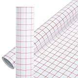 2 Roll Transfer Tape for Vinyl - 12'' x 10 FT Red w/Alignment Heat Transfer Tape - Grid Application Tape for Silhouette Cameo, Signs, Windows & Stickers