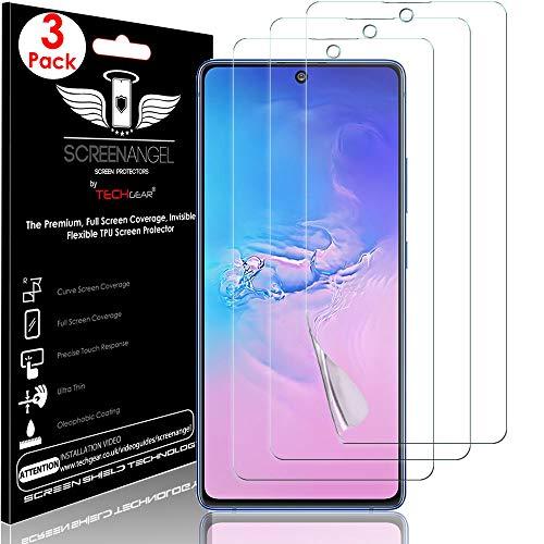 TECHGEAR [3 Piezas Protector de Pantalla Compatible con Samsung Galaxy Note 10 Lite [Screen Angel] Alta Definición Pantalla con Cobertura Completa [Sin Burbuja] [Compatible con Huella Digital]