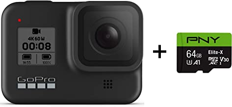 GoPro HERO8 Black + PNY Elite-X 64GB U3 microSDHC Card (Bundle)