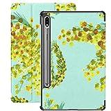 Funda Galaxy Tablet S7 Plus de 12,4 Pulgadas 2020 con Soporte para bolígrafo S, Mimosa Set Flower Yellow Slim Stand Funda Protectora Folio para Samsung