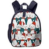 Sac à Dos Enfant Garderie Maternelle Sac Creche Sac Animaux École Mignon pour Bébé Fille Garçon Joyeux Noël Santa Cat