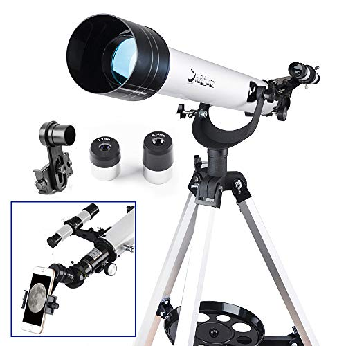 Telescope for Beginners Adults or Kids 60mm Refractor Telescope with 10mm Smartphone Digiscoping Adapter - Observer 60mm AZ Refractor & Travel Scope Starter Kits