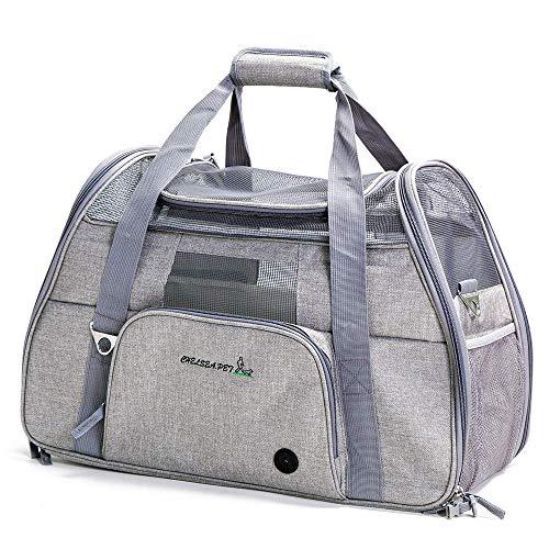 WUKONG99 Sac de transport pliable en nylon Oxford avec fenêtre en maille respirante pour petit chien, chiot, chat jusqu'à 8 kg, 51 x 22 x 34 cm, 4 couleurs, gris clair