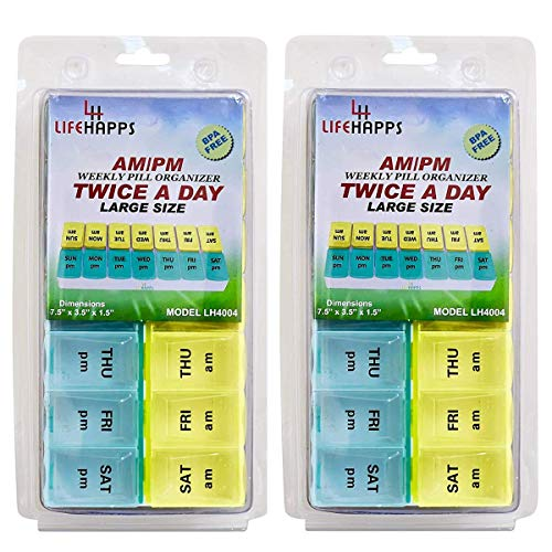 Large Weekly Pill Box- 7 Day Am Pm Daily Pill Organizer BPA Free by Lifehapps - (2 Pack) Twice A Day 14 Compartment Storage Case, The Perfect Container for Vitamins, Supplements and Medications