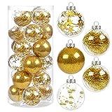 Kesote Bolas de Navidad doradas, 24 unidades, bolas para árbol de Navidad, decoración para fiestas de Navidad (6 cm)