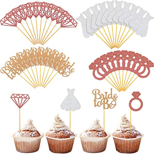 96 Pieces Glitter Bride To Be Cupcake Toppers Wedding Dress Cupcake Toppers Diamond Ring Cake Toppers for Wedding Engagement Bridal Shower Bachelorette Party Favors