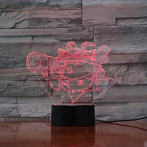 Nur 1 Stück LoL Heros LED Nachtlicht-Berührungssensor 7 Farbwechsel Kind Kind Baby Kit Nachtlicht Teemo Tischlampe Schlafzimmer