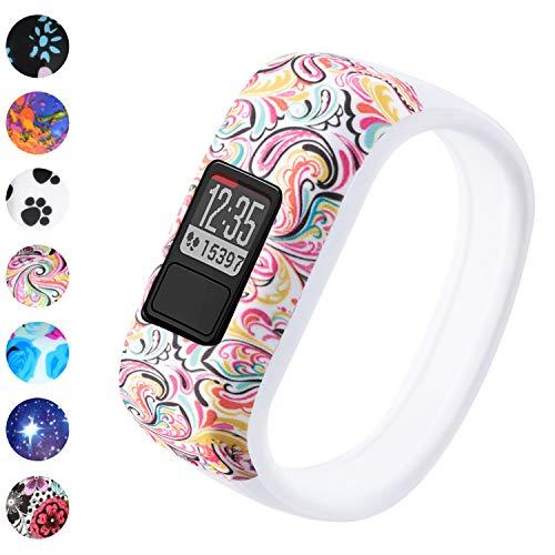 Vozehui Compatible with Garmin Vivofit 3/Vivofit JR/Vivofit JR 2 Bands, Colorful Soft Silicone Replacement Sport Wristbands for Kids Boys Girls Men Women, Small Large
