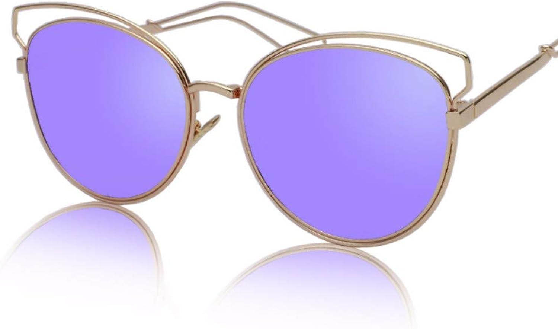 Cat's Eye Hollow Sunglasses Retroarchaic Large Frame color Film Reflective Sunglasses,C