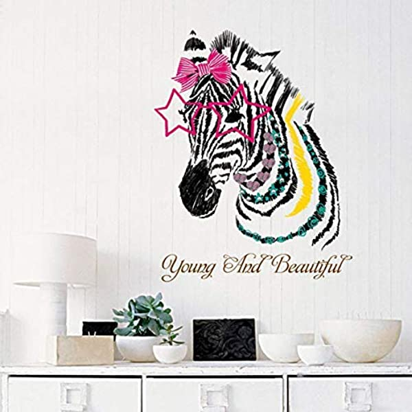 RONGAN Zebra Head Wall Stickers For Kids Rooms Nursery Girl Bedroom Children Decals Vinyl Home Decoration Self Adhesive Fil