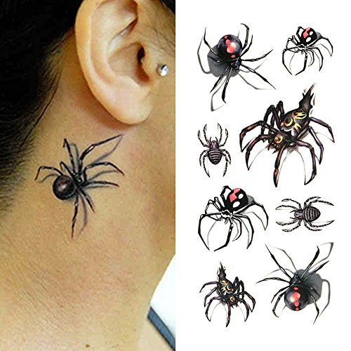 Oottati Small Cute Temporary Tattoo Spider 3D Halloween (Set of 2)