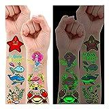 Leesgel Kinder Tattoo, 38 Stile Leuchtende Meerjungfrau Tattoo Kinder für Meerjungfrau Geburtstag Deko Kindergeburtstag Mitgebsel