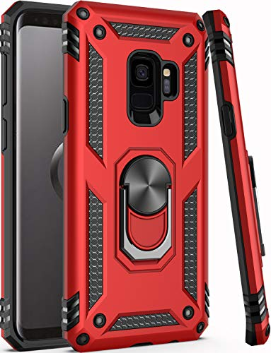 Galaxy S9 Case,ZADORN 15ft Drop Tested,Military Grade Heavy Duty Armor Protective Cover with Hard PC and Soft Silicone Kickstand Phone Case for Samsung Galaxy S9 (Small Size 5.8') Red