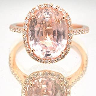 peach champagne sapphire rose gold engagement ring