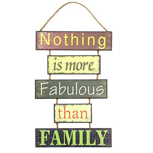 Vosarea Nothing is More Fabulous Than Family Wood Fun Decorativa Placa de Boas-vindas com 5 placas