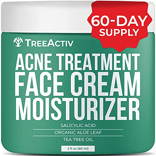 TreeActiv Acne Treatment Face Cream Moisturizer | Salicylic Acid & Tea Tree Oil Pimple Solution | Hormonal & Cystic Acne Facial Cream | Zit, Milia, & Blemish Remover for Adults & Teens | 60-Day Supply