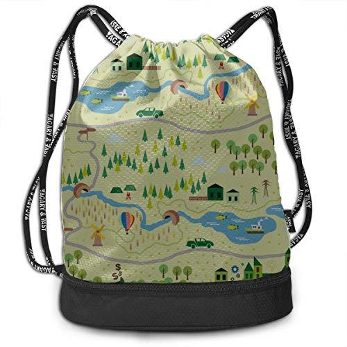 OKIJH Mochila Mochila de Ocio Mochila con cordón Mochila Multifuncional Bolsa de Gimnasio Kids Mini Backpack City Map Simple Clear Gym Drawstring Bags Backpack Sports String Bundle Backpack For Sport