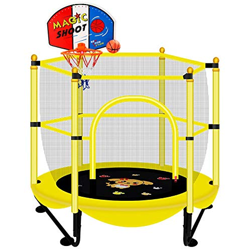 Ligstoel voor binnen, trampoline voor kinderen, geluidsarm, voor huishoudelijk gebruik met veiligheidsnet, gewicht van de lager 250 kg/diameter 150 cm.